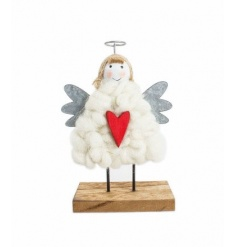 Festive wooden Christmas Angel ornament decorated in wood, metal and a soft wool