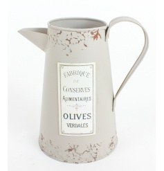 Kettle style tin jug with French label, finished with an ages and distressed look