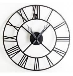 Large metal clock with roman numerals and vintage hands