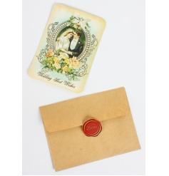 Best wishes wedding card with a classic vintage design and envelope to match