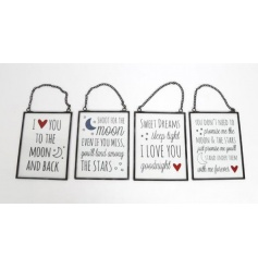 An assortment of glass signs with metal frame and sweet message on each