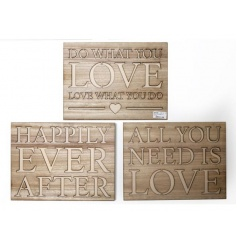 Carved natural wooden plaques with popular love slogans.