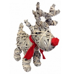 A cute standing reindeer made from natural wrapped willow and finished with a fabric red nose and scarf.