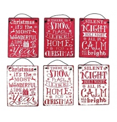 An assortment of 6 mini metal signs each with Christmas quote