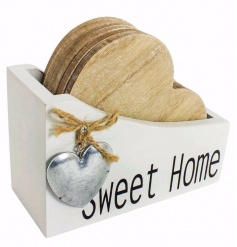 A chic set of heart coasters held in a white wooden box with 'Sweet Home' wording