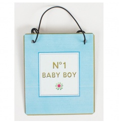 Mini metal sign from Heaven Sends with No 1 Baby Boy print