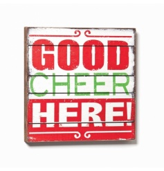 Retro style large wooden block sign reading 'GOOD CHEER HERE'.