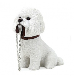 Solid resin dog figurine with lead. A cute dog figure finished to a high standard.