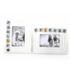 A mix of 2 lovely 4 x 6 photo frames with colourful friends and family decorations
