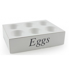 A classic white wooden egg tray with grey lettering.
