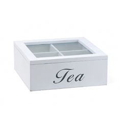 A chic white wooden tea box with glass lid and grey lettering.