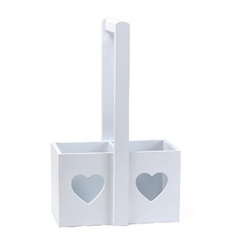 A chic wooden bottle holder with a heart shaped cut out design and handle to carry.