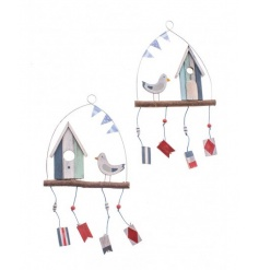 An assortment of 2 hanging wooden decorations with a coastal theme