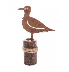 Rustic style standing bird decoration with wooden base