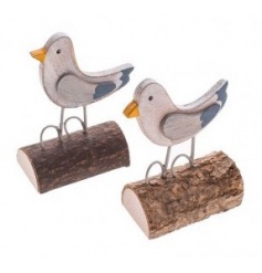 2 assorted standing seabird decorations with wooden base