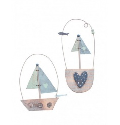 An assortment of 2 hanging wooden boat decorations in a coastal design