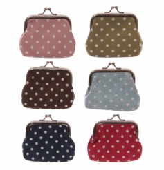 An assortment of cotton polka dot coin purses in a range of earthy chic colours.