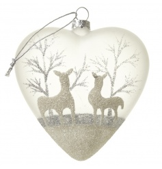 Delicate glass bauble from Heaven Sends in a heart shape with glitter reindeer detail