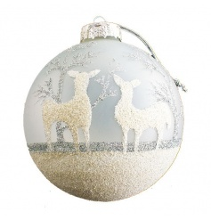 Delicate glass bauble from Heaven Sends with glitter reindeer detail