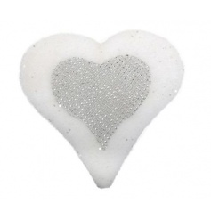 Heart shaped fluffy decoration with sparkle detail