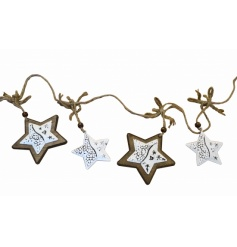 Rustic wood and white metal star garland with jute rope to hang.