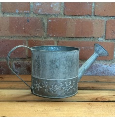 Zinc watering can with chic greywash finish and snowflake print