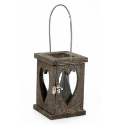 A chunky wooden lantern with heart glass and a grey washed finish