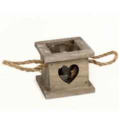 A square shaped chunky wooden tray with glass candle holder and rustic rope handles
