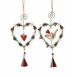 Cute and quirky wire heart decorations intertwined with berries, with heart and festive bird.