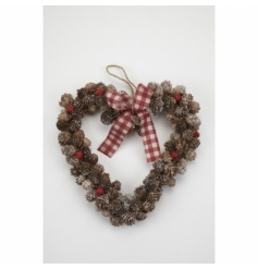 A lovely rustic heart shaped wreath made from pine cones, with red berries and a gingham bow.