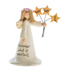 """Things to remember"" standing angel ornament with stars"