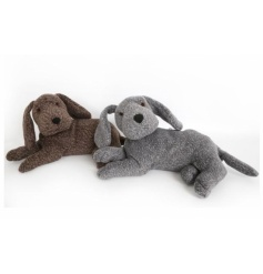 A mix of two grey and brown cute dog doorstops with a rustic feel.