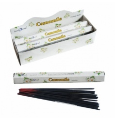 Camomile incense sticks in a hexagonal box.