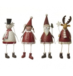 A mix of 4 traditional Christmas figures including santa, snowman and a reindeer
