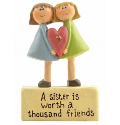 A cute sister/friendship sign reading 'a sister is worth a thousand friends'