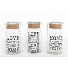 A mix of 3 love, life and home glass jars with handle and chunky jute rope wrap.