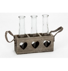 Chic wooden tray with heart cut out and glass vases for storage