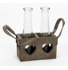 Rustic wooden tray with heart cut out and glass bottles