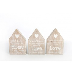 House shaped wooden block signs in an assortment of 3