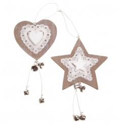 Wooden heart and star mix with bell decoration by Heaven Sends