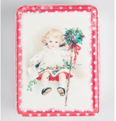 Retro style storage tin with festive image
