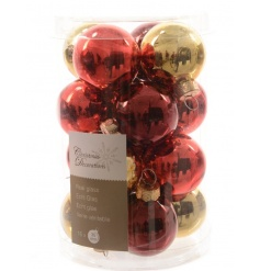 A selection of classy baubles in 4 assorted colours with a glossy finish