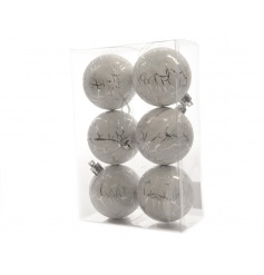 A pack of 6 silver baubles imprinted with a cracked ice effect, a great item to add edge & style to the Christmas tree