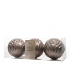 A pack of 3 slate grey geometric baubles, a dynamic design