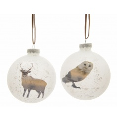 Charming glass baubles with leather ribbon to hang and a snowy picture finish.
