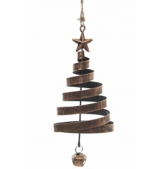 A style 3D copper swirl tree hanger with a star and bell detail.