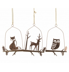 Hanging iron decorations with fox, owl and deer design