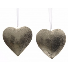 An assortment of 2 iron heart hangers with an engraved deer and decorative heart pattern.