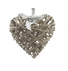 Hanging grey coloured willow heart with ribbon to hang