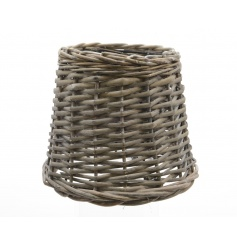 Rattan lamp shade in a grey colour, a chic trend